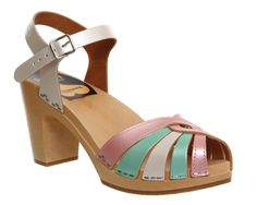 Buy Pearl Mix Leather Swedish Hasbeens Frederica Peeptoe Sandal from OFFICE.co.uk.