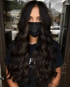 Black Hair With Brown Highlights, Black Brown Hair, Brown Hair Balayage, Hair Color Balayage, Hair Color For Black Hair, Dark Fall Hair Colors, Mocha Hair, Aesthetic Hair, Long Hair Styles