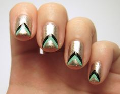 Love these chevron nails with a glittery background. What colors would you use?