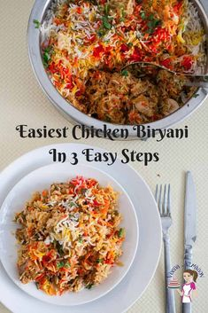 This Hyderabadi chicken biryani is an Indian classic. No one ever forgets eating a good biryani. Chicken biryani is essentially a rich yogurt based chicken curry buried under aromatic basmati rice flavored with warm garam masala spices, golden fried onions and a splash of saffron for that vibrant color. #ChickenBiryani #IndianBiryani #HyderabadiBiryani #BestBiryani #Biryani Chicken Byriani Recipe, Easy Chicken Biryani Recipe, Biryani Chicken, Chicken Recipes, Chicken Curry, Mutton Curry Recipe, Dum Biryani, Indian Food Recipes, Ethnic Recipes