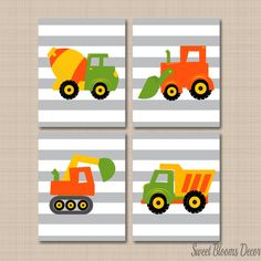 Construction Wall Art,Trucks Kids Wall Art,Orange Construction Nursery Wall Art,Dump Truck Excavator Mixer Wall Art by SweetBloomsDecor on Etsy