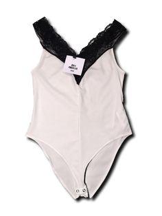 8798956b14e 29.00 ❤ Zara Trafaluc Bodysuit Lace Neckline Off Shoulder Black Size M
