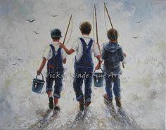 Three Boys Fishing Art Print, three brothers paintings, going fishing, bib overhauls, navy blue boys room wall art, Vickie Wade