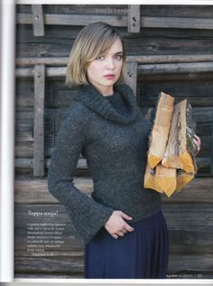 Knit sweater from handspun yarn (by Hea Villa Selts). My design for Käsitöö 2014 Winter