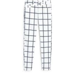 Check Trousers found on Polyvore featuring pants, trousers, bottoms, white zipper pants, zip pants, zipper pants, checked pants and 5 pocket pants