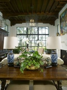 Summerour Architects, great blue and white chinese lamps anchor this spacious living room
