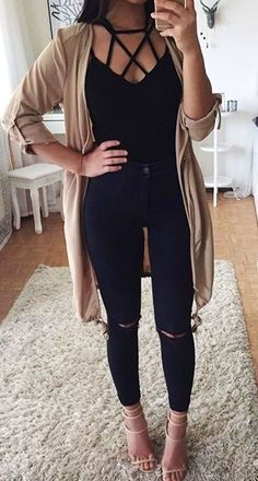 97bb986033  summer  outfits Beige Cardigan Black Lace-up Top Black Ripped Skinny Jeans  Cardigan