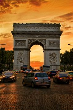 Arc de triomphe at sunset, Paris, France by Nicolas B. Paris France, Oh Paris, Paris Love, Paris City, Places Around The World, Oh The Places You'll Go, Places To Travel, Places To Visit, Around The Worlds