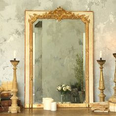 Transform your home into a country cottage with our shabby chic and French inspired mirrors. Shop table top mirrors, floor length mirrors, wall mirrors and more. French Royalty, Mirror Inspiration, Wall Finishes, Gold Walls, Diy Mirror, Cream And Gold, Picture Wall, Vintage Antiques, Oversized Mirror