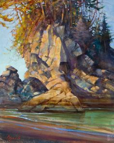 "Brent Lynch - Sunset on Stack, Bamfield (field study) - 16"" x 20"" - oil on canvas"
