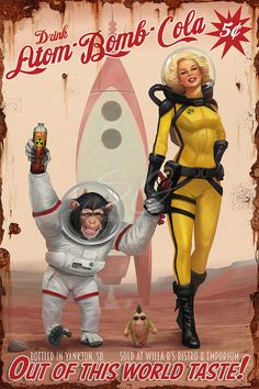 Atom Bomb Cola Series  Out Of This World Taste!  Bottled in Yankton, SD. Sold at Willa B's Bistro & Emporium. Created with ArtRage Print Available: steve-goad.pixels.com/featured&hell...