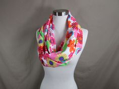 Infinity Scarf in Bright Floral Print Handmade Lightweight Scarf Spring Scarf Summer Scarves