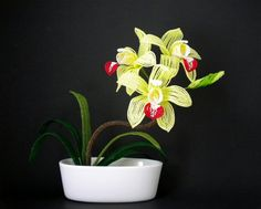 Cymbidium Orchid Plant  French Beaded Flowers by copperglass, $75.00