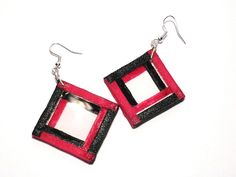 Black Rose's Handmade Things, #earrings, #handmade, #Plexiglass, #ribbon, #desing