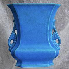 """Cowan Pottery """"Logan"""" Vase #649-B, Egyptian Blue, c. 1929"""