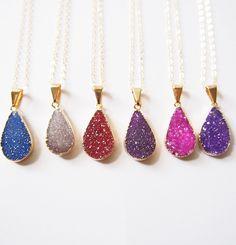 Druzy Gemstone Gold Dipper Necklace