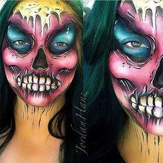 Halloween Makeup Ideas from Jordan Hanz Horror Makeup, Scary Makeup, Sfx Makeup, Costume Makeup, Makeup Art, Makeup Ideas, Zombie Face Paint, Pop Art Zombie, Face Paint Makeup