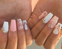 Imagen de nails, pink, and white
