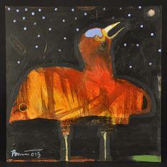 "Night Bird's Cry. Acrylic on Panel | 12"" h x 12"" w"