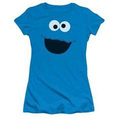 Sesame Street Cookie Monster Face Juniors Tee Shirt