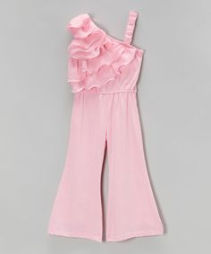 Another great find on Blossom Couture Pink Ruffle Jumpsuit - Infant & Girls by Blossom Couture Girls Frock Design, Kids Frocks Design, Baby Frocks Designs, Baby Dress Design, Kids Dress Wear, Kids Gown, Frocks For Girls, Dresses Kids Girl, Baby Girl Dress Patterns