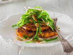 Sweet Potato Fritters with Snow Pea and Almond Salad