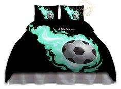 Soccer Ball Bedding - Comforter Aqua Flames - Soccer Bedding - Kids Sports…