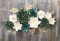 Excited to share the latest addition to my shop: Ready to Ship: set of 11 paper flowers in shades of green and cream. White Paper Flowers, Paper Flower Decor, How To Make Paper Flowers, Flower Crafts, Flower Decorations, Paper Succulents, Shade Flowers, Specialty Paper, Paper Flower Backdrop