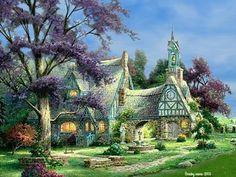Cottage  art  Cottage  garden  painting  tree