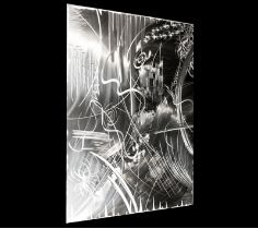 """$402 A single panel metal sculpture modern wall art, """"Deception"""" is a vibrant piece highlighted by bold strokes of straight and curved lines. It maximizes the potential of the sheet #metal, accentuating the different qualities and textures that can be achieved through the grinding different and overlapping layers of lines which creates movement and gives #life to the urban metallic artwork. #Deception #NicholasYust #Modern #Art #Bold #Metallic #Sculpture #Abstract"""