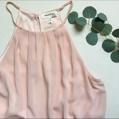 """Blush Halter Dress Blush Halter-strap Dress!                                                            • a sheath delicate, flowy material!                                      • lace embroidered hem on bottom of dress!                            • two layers. Length is between mid-knee.                         • 19"""" bust /// only worn once! Monteau Dresses"""