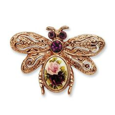 Rose-Tone Purple Crystal & Rose Floral Decal Bee Pin 1928 Jewelry. $21.34. Save 70%!