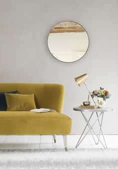 "When our Emily first unwrapped this steel stunner she reminded us that ""round mirrors are dead nice"". Right you are, Em. We think it's the characterful metal edge that really does it. Coffee To Water Ratio, Comfy Sofa, House On The Rock, Beautiful Mirrors, Round Mirrors, Sofas, Love Seat, Sweet Home, Living Room"