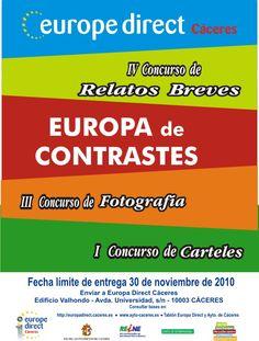 """IV Concurso de Relatos Breves / III Concurso de Fotografía / I Concurso de Carteles  """"Europa de Contastes"""" 2010"""