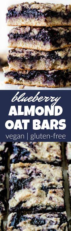 Blueberry Almond Oat Bars cup ml) unsweetened applesauce 6 tbsp g) coconut palm sugar** 1 tbsp ml) coconut oil, melted*** tsp salt Gluten Free Baking, Gluten Free Desserts, Vegan Desserts, Vegan Recipes, Snack Recipes, Dessert Recipes, Vegan Ideas, Vegan Sweets, Healthy Sweets