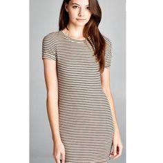 Ribbed Knit Stripped Shirt Dress Available in S, M, L Honey Punch Dresses