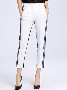 Shop Straight Leg Pants - White Casual Color-block Straight Leg Pant online. Discover unique designers fashion at StyleWe.com.