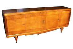 One Kings Lane - Dramatic & Discerning - French Art Deco Blonde Mahogany Buffet