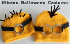 Minion heads.A great costume idea for a Minion or Despicable Me party or a Halloween costume. For some added cute add a black button for the eye. Googly eyes would be great too!