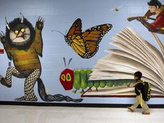 Fernandez walks past a mural on the first day of school at Thurgood Marshall Elementary on Aug. 26 in Houston.Caleb Fernandez walks past a mural on the first day of school at Thurgood Marshall Elementary on Aug. 26 in Houston. School Hallways, School Murals, Art School, High School, Library Wall, Library Design, Kids Library, Library Ideas, School Library Displays