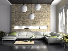 Living Room Lighting Design:outstanding Natural Fresh Nuance Inside The  Interior Modern Living Room Design Ideas That Has Grey Modern Floor And  Also Stone ...