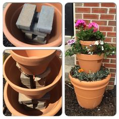 flower pots outdoor Most other pins showed putting clay pots upside down inside each pot to raise each level. But if you do that, the excess water cannot drain out the bottom hole o Garden Yard Ideas, Garden Crafts, Diy Garden Decor, Garden Projects, Garden Pots, Herb Garden, Garden Pallet, Pallet Projects, Diy Flowers