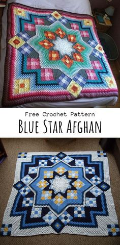 Crochet Blue Star Afghan - The Magic Hooks,Crochet Blue Star Afghan - The Magic Hooks Make crochet covers yourself Who does not enjoy a blanket where you could hide and loosen up in cold weathe. Crochet Afghans, Crochet Squares Afghan, Crochet Square Patterns, Crochet Stars, Crochet Quilt, Crochet Blanket Patterns, Baby Blanket Crochet, Free Crochet, Crochet Baby