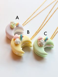 Pastel Macaron Crescent Moon Sandwich Necklace/Miniature Food Jewelry/ Kawaii jewelry
