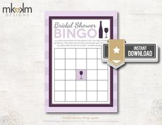 Bridal Shower Bingo: Wine Bridal Shower Theme  by MKKMDesigns