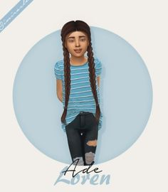 Ade Loren Hair Kids Version by Simiracle for The Sims 4