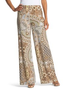 """Spanish Mosaics Palazzo PantsPlay with proportions by wearing these wide-leg palazzo pants. A neutral mosaic pattern evokes Spanish architectural style. Pull-on styling with elastic waistband. Inseam: 31.5"""". 95% polyester, 5% spandex. Machine wash. Imported."""