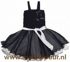 LoFff - Smocked dress with net skirt - Darkblue and white