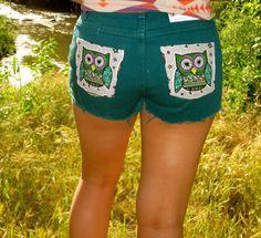 Adorable VTG dark Teal OWL shorts. $45.00, via Etsy. Im in loveeeee.