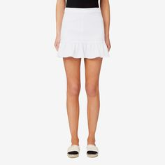 A casual skirt is a must-have for the warmer months to create a relaxed and stylish outfit. This piece features an exposed zip and frill detail on the hem for a soft and feminine look to mix and match with your favourite tops and tees. Made from a cotton/polyester/elastane blend, it's available in Bright White and Bluebell Denim and in sizes 6 to 14. Our model wears size 8 and is 179cm tall.